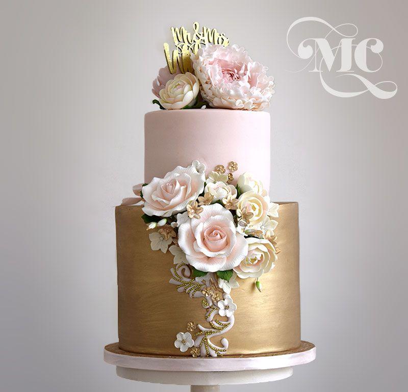 Glamorous Gold-wedding cake by Mama Cakes