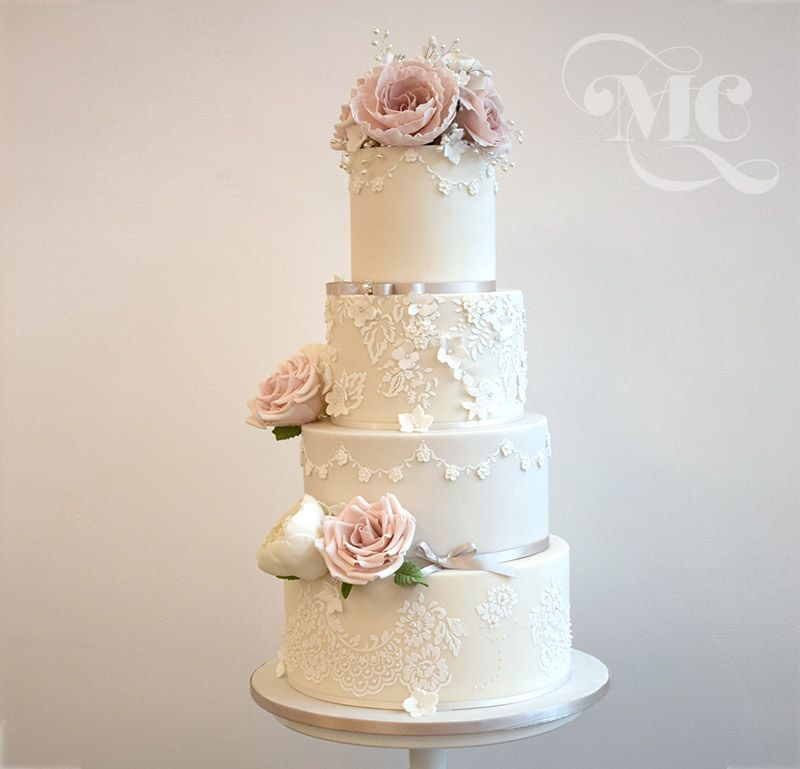 Romantic Lace wedding cake with blush roses