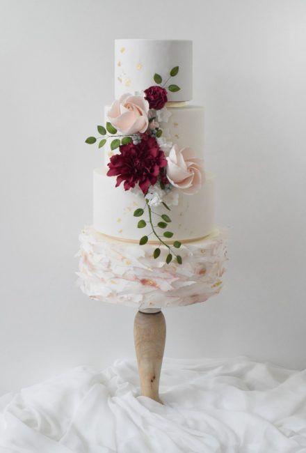 Burgunde and Blush Wedding Cake by Mama Cakes Cumbria