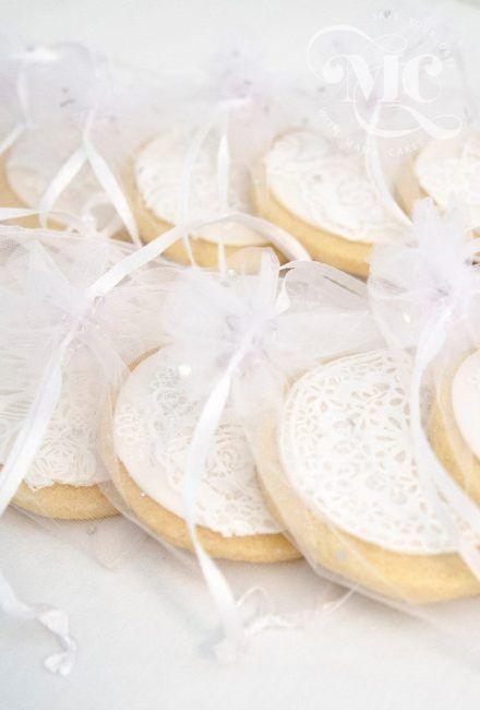 Edible Wedding Favour Decorated Biscuits Organza Bag by Mama Cakes Cumbria