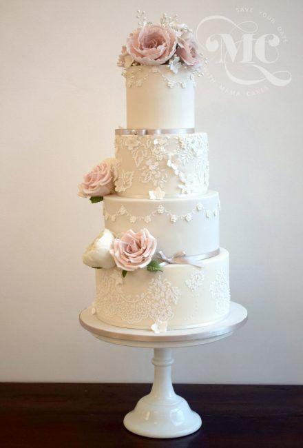 Glamorous Lace Wedding Cake by Mama Cakes Cumbria 1