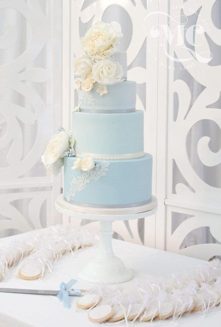 Light Blue Lace Wedding Cake by Mama Cakes Cumbria 1