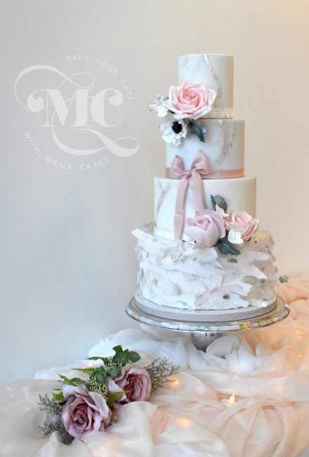 Marble Effect and Wafer Paper Wedding Cake by Mama Cakes Cumbria 1