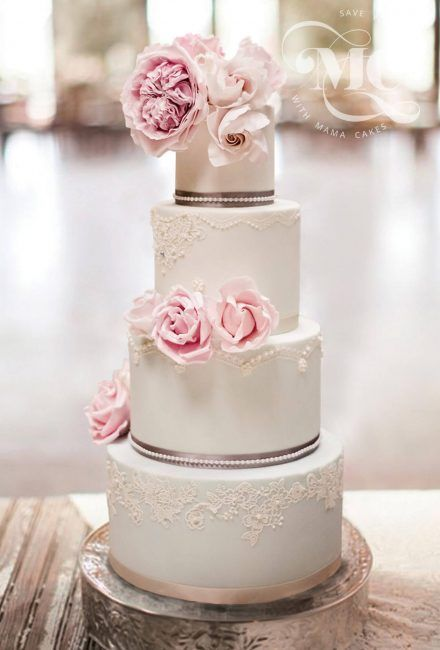 Romantic Lace Wedding Cake by Mama Cakes Cumbria 1