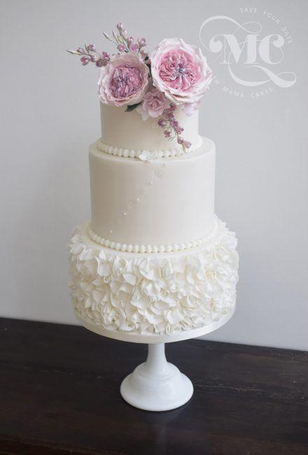 White Ruffles Wedding Cake by Mama Cakes Cumbria 1