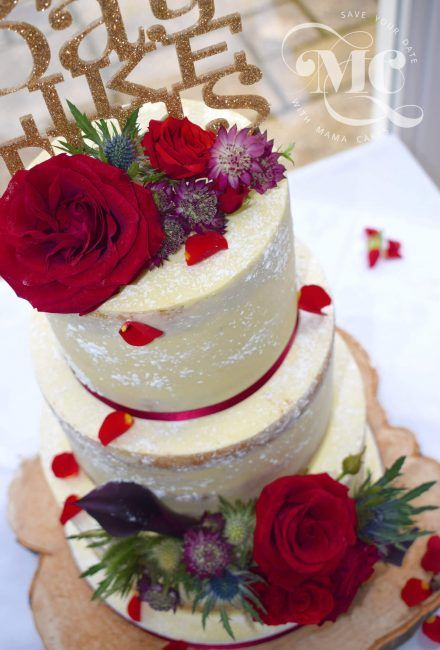 Burgundy Roses and Blue Thistles Semi-Naked Wedding Cake by Mama Cakes Cumbria