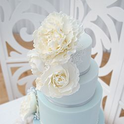 Mama Cakes Pastel blue wedding cake detail