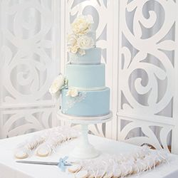 Mama Cakes Pastel blue wedding cake with lace details