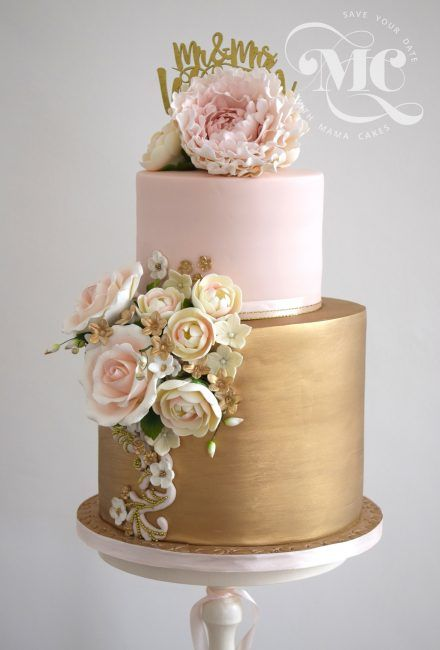 Metallic Gold and Blush Wedding Cake by Mama Cakes Cumbria 1