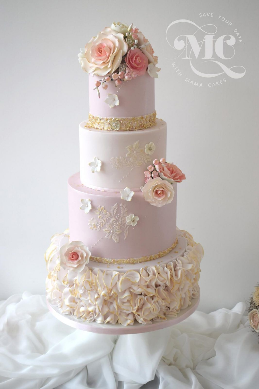 wedding cakes cumbria pink and gold ruffles cakes cumbria luxury 24129