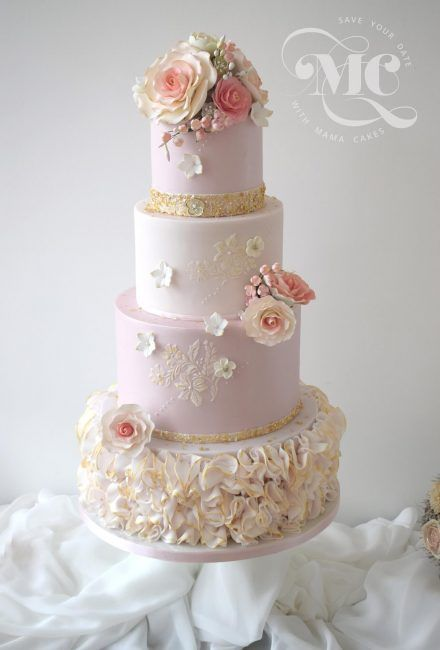Pink and Gold Ruffles Wedding Cake by Mama Cakes Cumbria