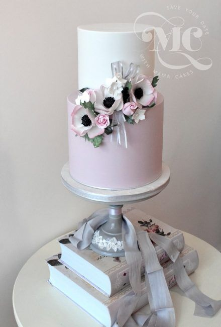 Pink and White Simple Elegance Wedding Cake by Mama Cakes Cumbria