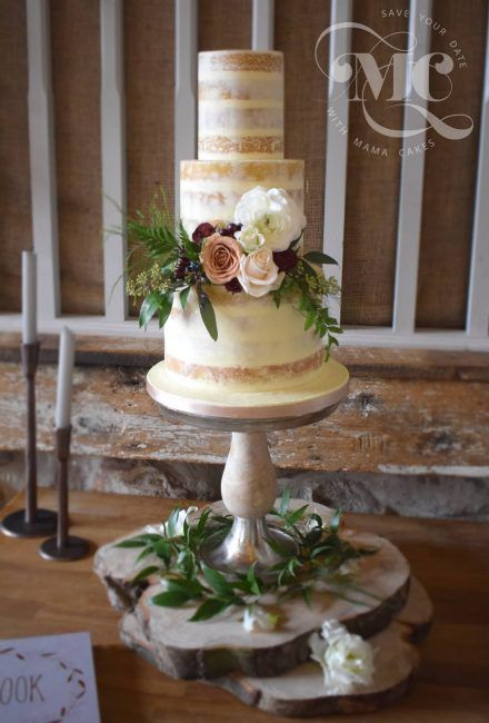 Semi Naked Rustic Wedding Cake by Mama Cakes Cumbria 1