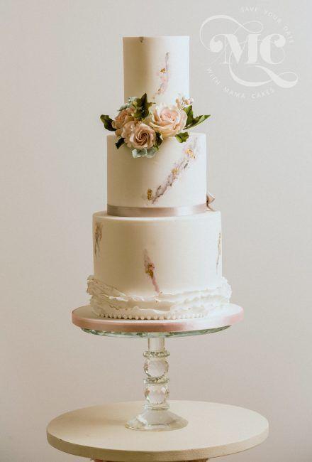 Watercolour Wedding Cake by Mama Cakes Cumbria