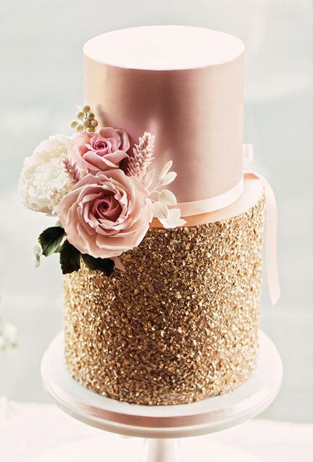 Mama Cakes Blush Pink and Gold Sequins Wedding Cakes
