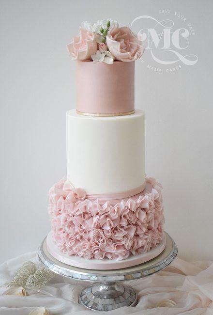 Pink Ruffles Three Tiers Wedding Cake by Mama Cakes Cumbria