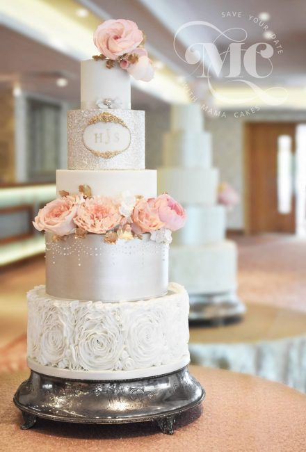 Rosette ruffle, champagne sequin wedding cake with pink sugar roses and peonies by Mama Cakes Cumbria