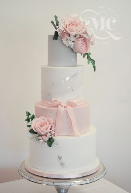 Wedding Cake with edible silver leaf details by Mama Cakes Cumbria