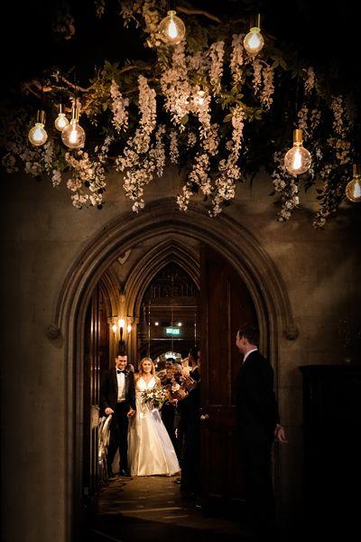 Black and mauve wedding theme - greenery and lights wedding decor