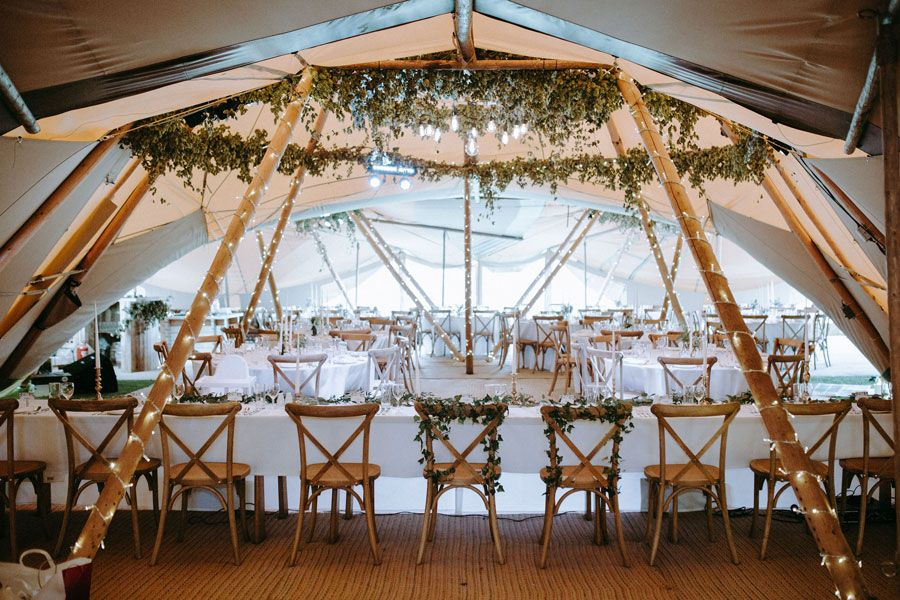 Greenery in a- wedding tipi