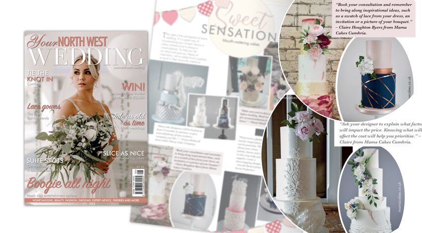 Mama Cakes Cumbria featured in Your North West Wedding page 55-56 and 59